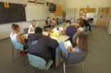 "(Denver, Colo., August 26, 2004) Tenth grade students read the book ""Monster,"" in class..."