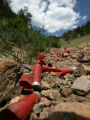 Spent shogun shells, and other trash and debrief cover the ground Wednesday afternoon June 20,...