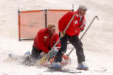 [Arapahoe Basin, CO - Shot on: 5/20/04]  Arapahoe Basin ski patrol perform cardio pulmonary...