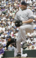 0681 Colorado Rockies Kazuo Matsui steals second base whith New York Yankees Roger Clemens on the...