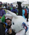 "Trailer Tom (cq) hugs Reed "" The Spacecraft Bunny"" Silberman (cq) from Boulder as the..."