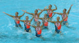 (ATHENS, GREECE-AUGUST 27, 2004)  The Greece Synchronised Swim Team performs during the Team Event...