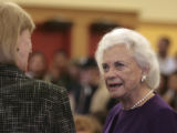 Colorado Attorney General, Gail Norton, left,  talks with former U.S. Supreme Court Justice,...