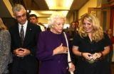 Former U.S.Supreme Court Justice, Sandra Day O'Connor, center, Dean of Law at DU, Jose Juarez Jr.,...