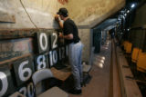 [681] Colorado Rockies Jason Hirsh, cq, writes on the wall Thursday Oct. 25, 2007, behind the...
