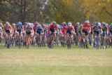 (Broomfield, Colo., Oct. 20, 2007) Men's Category 3 riders sprint for position at the start.  The...