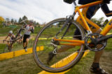 (Broomfield, Colo., Oct. 20, 2007) Cyclists jump wooden barriers and may have to clear other...