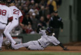 [1519] Willy Taveras, Colorado Rockies, slides in to third on a Matt Holliday double in the 1st...