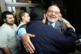 (NYT12) DALLAS, Texas  -- Oct. 22, 2007 -- CHARITY-TERROR-2 -- Mohammed El-Mezain is greeted by...