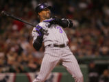 [RMN526] Colorado Rockies Willy Taveras is hit by a pitch by Boston pitcher Curt Schilling in the...