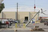The International Brotherhood if Electricians (IBEW) installed a wind turbine in the parking lot...