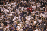 [213} A Colorado Rockies fans cheer on the team during Game 4 of the World Series against the...