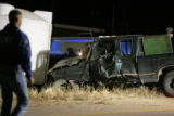 The Colorado State Patrol, joined by a law enforcement joint task force, investigate an accident...