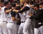[ES108] -Colorado Rockies first basemen Todd Helton after his two run home run in the bottom of...