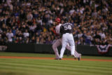 Colorado Rockies, Franklin Morales tags out Arizona Diamondbacks,  Chris Young in the 1st inning...