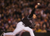 Rockies pitcher Matt Herges delivers a pitch in the top of the fifth inning of Game 4 of the...