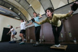Kinesis class participants focus on their balance at Rally Sport in Boulder on October 18, 2007. ...