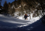Jeremy Jones of Stafford, Va., fights through the deep snow while hiking down Barr Trail at No...