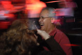 Dave Archuleta (cq) dances with Rose Lopez (cq) during a performance by Jazz del Barrio at...