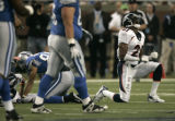 1870 Denver Broncos Hamza Abdullah reacts after a big hit and giving up a first down to the...