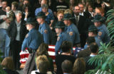 Colorado State Patrol Troopers act as pallbeares after   the funeral of fellow Trooper Zacharian...