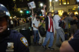 8/31/2004 - New York City -- Protestors corraled on a street corner near Madison Square Garden...