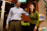 Denver Public School Board re-election candidates Bruce Hoyt and Theresa Peña celebrate after it...