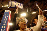 (8/31/2004) New York City-Colorado delegate Sylvia-Morgan-Smith, Lakewood, cheers for California...