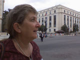 Terrie Barrie, an advocate doe ill nuclear weapons workers nationwide, pauses outside the U.S....