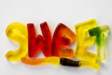Gummy candy spelling the word SWEET from The Candy Factory in Cherry Creek Mall, Colo.,...