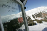 Ski lift operators take a light hearted poke at Red Sox fans with their information sign ay the...