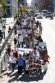 Hundreds of immigrant students marched from the Denver Community College in Denver, to Senator...