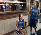 Duke women's basketball sisters Emily (#2) and Abby Waner (#4) share a laugh before photo and...