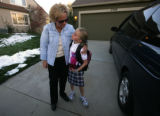 Maureen Shul, (cq) President of Castle Pines North Master Ass. chats with Grace Roberts, 9 after...