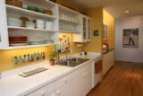 The kitchen. Sharon Bond Brown and her husband Rex Brown live within the Pattern Shop Studio which...