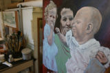 "The studio and a painting for the ""sisters"" themed show Sharon is opening in her home on..."