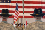 Soldiers of the 1st Squadron, 6th Cavalry Regiment cased the unit's colors in a ceremony on August...