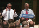 (JOE1) Democratic national Committee chairman Howard Dean, right. acknowledges the crowd with...