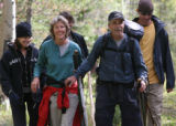 Terry Jones (cq) and his wife  Marion Jones (cq) walk to the  Big South Trailhead  after being...
