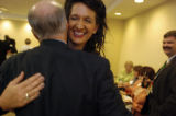 (8/31/2004) New York City-Colorado delegate Kendal Unruh, Castle Rock, hugs delegate and State...