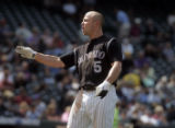 Colorado Rockies left fielder Matt Holliday argues a call of  being struck out with home plate...