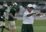 Colorado State head football coach Sonny Lubick during practice Friday August 24, 2008 on the...
