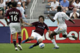Colorado Rapids Facundo Erpen (3) steals the ball from Los Angeles Galaxy Quavas Kirk (15) during...