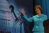 NEW YORK CITY, NY - AUGUST 31, 2004 -- First Lady Laura Bush addresses the 2004 Republican...