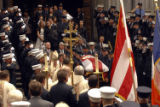 (NYT4) NEW YORK -- Aug. 24, 2007 -- NY-FIRE-FUNERAL-4 -- The coffin of New York City firefighter...