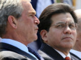 FILE (NYT2) WASHINGTON -- May 15, 2007 -- GONZALES-RESIGN-2-- President George Bush with Attorney...