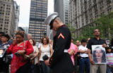 (NYT6) NEW YORK -- Sept. 11, 2007 -- 9-11-MEMORIAL-6 -- Marine Pfc. Eric Calamusa joins other...
