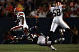 Denver Broncos D.D. Lewis (54) fails to tackle Cleveland Browns Joshua Cribbs (16) during the...