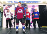0163 Colorado Avalanche players, in back from left, Milan Hejduk, Curtis Leschyshyn, and coach...