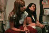 Angelina Sierra-Sandoval (cq) 15 left,  sits with her mother Maria Sierra-Sandoval (cq) in their...
